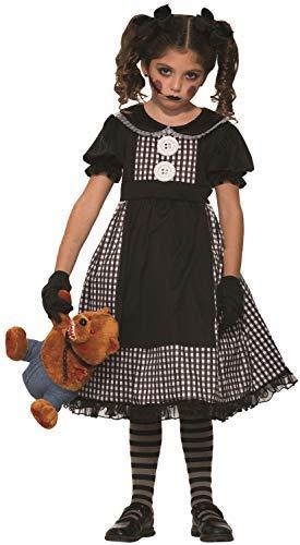 Girls Dark Possessed Rag Doll Creepy Killer Child Halloween Horror Fancy Dress Costume Outfit (7-9 years)]()