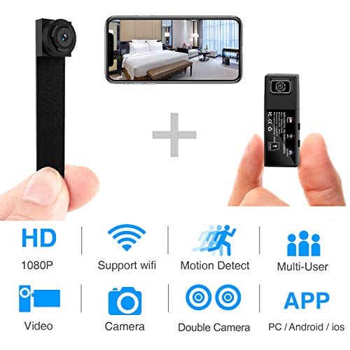 Spy Camera Hidden Cameras HD 1080P Wireless WiFi Mini Nanny Cam with Dual-Lens/Motion Detection/Loop Recording for Home/Office Monitoring, Indoor/Outdoor(Newest app)