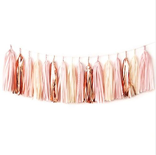 15 Pcs 14 Inches Tissue Paper Tassel Garland Rose Gold Foil Pink and Ivory Tassel Garland for Weddings Birthday Bridal Shower Baby Showers Decor(Rose Gold)