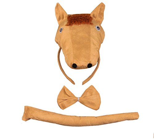 3PCS Animals 3D Cute Headband Party Costume, Ear with Tail Tie (Horse) (Horse Head Hat)