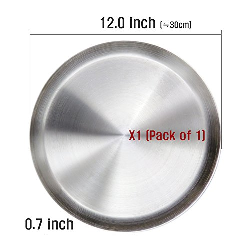 Immokaz Matte Polished 12.0 inch 304 Stainless Steel Round Plates Dish, for Dinner Plate, Camping Outdoor Plate, BPA Free (1-Pack) (L (12.0'')) by Immokaz (Image #6)