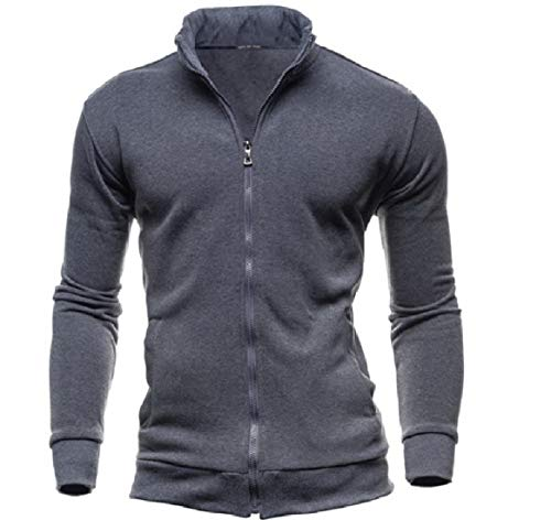 Collar with Jacket Military Fashion Zip Solid Dark up Pockets Men Stand Grey RkBaoye RtwnqaXn