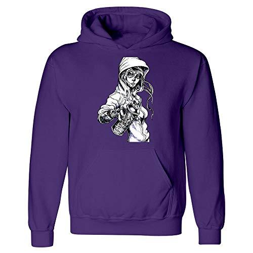Peaceful Spirits - Graffiti Tag Skeleton Ghetto Girl - Hoodie Purple