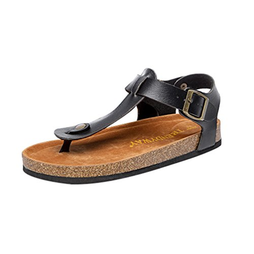 ZKOO Chanclas para Mujer Footbed De Corcho Vendaje Zapatillas Sandalias De Playa Sandalias Planas Verano Zapato Casual Negro