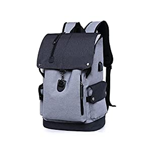 Business Laptop Backpack, Slim Anti Theft Computer Bag, Water-resistent College School Backpack, Eco-friendly Travel Shoulder Bag / USB Charging Port Fits UNDER 15.6 Inch Laptop & Notebook (Grey)