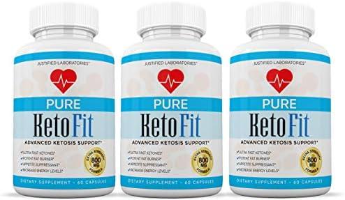 Pure Keto Fit Pills Advanced BHB Ketogenic Supplement Exogenous Ketones Ketosis for Men Women 60 Capsules 3 Bottles