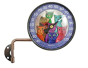Pink Cloud Cat Gang Wall Mount Swivel Copper Dial Artful Outdoor Thermometer