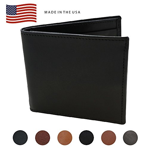 (Black Nappa Calf Hipster Genuine Leather RFID Wallet – American Factory Direct – Fits US Dollar Euro Pound Hipster Wallet - Made in the USA by Real Leather Creations)