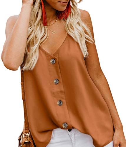 Aixy Women's Button Down V Neck Tank Tops Loose Casual Cami Shirts Summer Blouses,Brown,2XL
