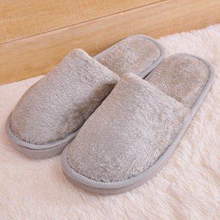 Mode Automne Hiver Coton Hommes Et Femmes Pantoufles D'anti-dérapant Chaud Intérieur Maison Salon Chaussures Épaisse Linge Couples, Mâle, 42-43 Pour 39-41 Pieds, Gris