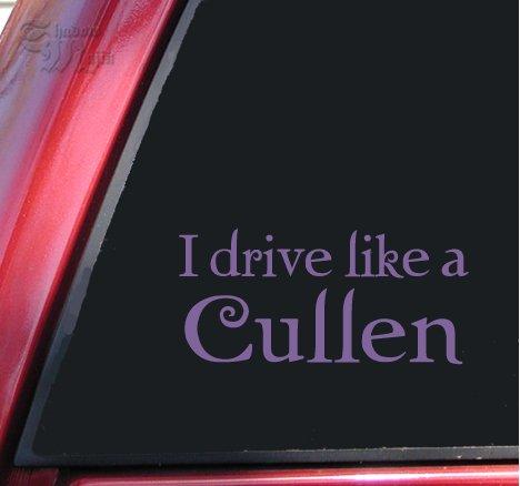Vinyl Cullen (I drive like a Cullen Twilight Vinyl Decal Sticker - Lavender)