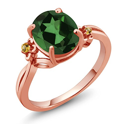 Gem Stone King 2.74 Ct Oval Green Mystic Quartz Yellow Simulated Citrine 14K Rose Gold Ring (Size 9)