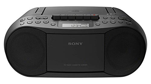 Sony CFDS70-BLK CD/MP3 Cassette Boombox Home Audio Radio, Black, With Aux Cable (Best Boombox Cd Player)