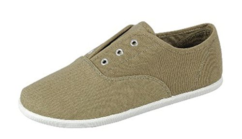Femmes Plat Multi Couleur Respirant Bout Rond Sneakers Plimsoll Chaussures En Toile Olive