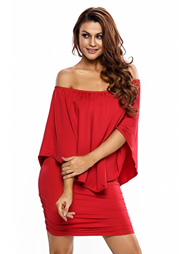 Women's Batwing Sleeves Mini Bodycon Dress Off Shoulder Ruffles Cocktail Party Dress Red L -