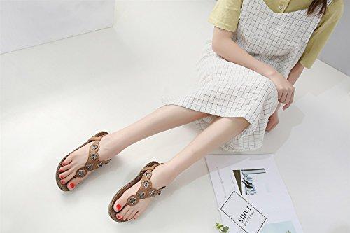 Tamaño Planos Xiaoqi Cuentas Sandalias Gran Zapatos Olas Con 2018 Nuevas Cómodo Étnicas De Marrón qgwxS8T