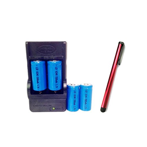 ON THE WAY®4Pcs 16340 2000mah PCB Protected Lithium Li-ion Rechargeable 3.7v Batteries+16340 Travel Battery Charger+Touch Stylus Pen