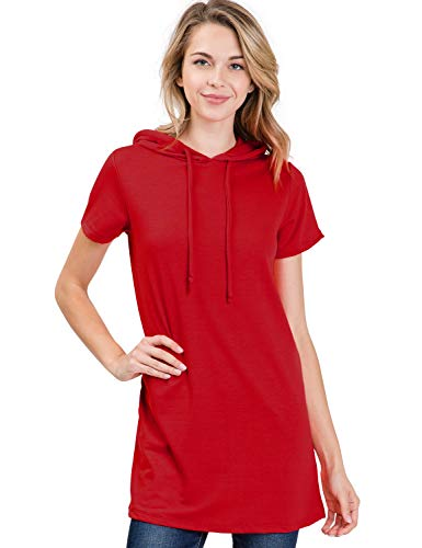 Doublju Loose Fit Hoodie Tunic Dress Hoodie Sweatshirts for Women with Plus Size (Made in USA) Burgundy Large