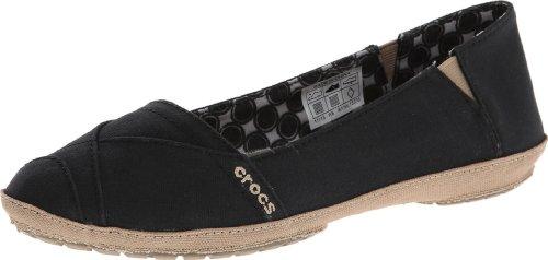 Crocs Womens Women's Angeline Boat Shoe,Black/Khaki,7 M US (Crocs Angeline)