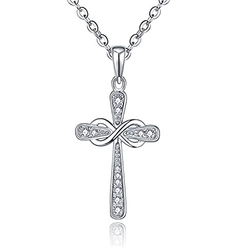 Cross Necklace-YL Sterling Silver Cross Pendant Necklace for Women-Jesus CZ Cubic Zirconia Crucifix Necklace-Infinity Cross Religious Necklace-White Gold Cross Necklace for Women (Girls Cross Necklace White Gold)