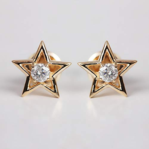 (Valentine For Gifts Natural 0.24 Ct Diamond Star Stud Earrings Solid 18k Yellow Gold Fine Wedding Handmade Fine Jewelry )