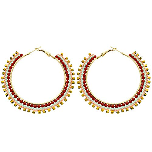 Panacea Womens Red Beaded Hoop Earring, Red/White, One Size