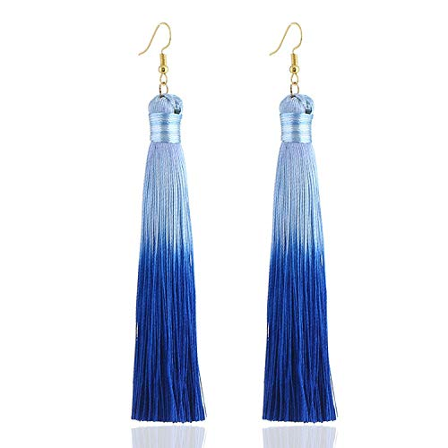 Nordstrom Heart Necklace - BE-MY-GUEST Bohemian Color TasselLong Solid Silk Fringed Drop Dangle Earrings Wedding Jewelry,royal blue
