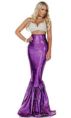 Forplay Women's Mermaid Costume Rhinestone Bra and Metallic Skirt