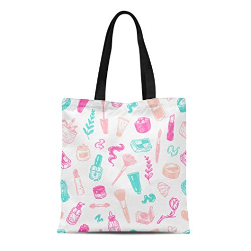 Semtomn Cotton Canvas Tote Bag Beauty Products and Tools Pattern Make Up Cosmetics Perfumes Reusable Shoulder Grocery Shopping Bags Handbag Printed ()