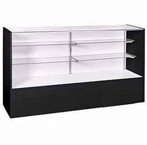 New Black Adjustable Glass Shelves Display Case Full Vision 38