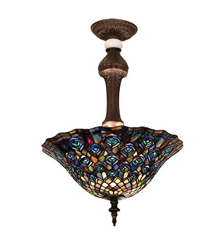 (Meyda Tiffany 31101 Peacock Feather Semi-Flush Mount Light Fixture, 20