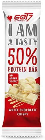 """[Gesponsert]GOT7 50% Protein Bar 60g - Protein Riegel ohne Zuckerzusatz - Low Sugar Eiweißriegel - Fitness Riegel - Geschmack""""White-Chocolate-Crispy..."""