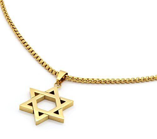 Mens Stainless Steel Gold Tone Star of David Medal Pendant 24