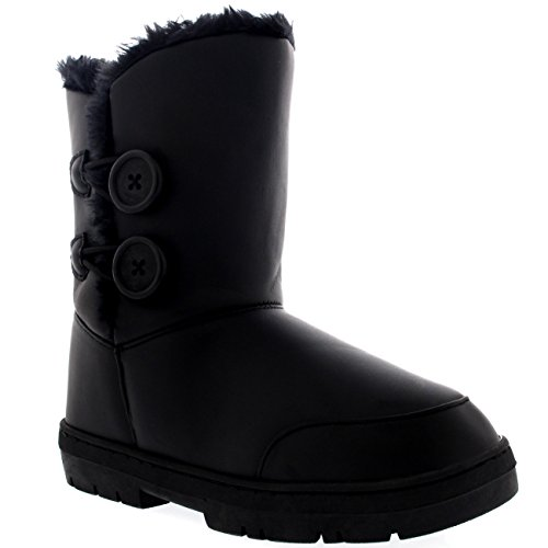 Womens Twin Button Waterproof Winter Snow Boots Black Leather lajec