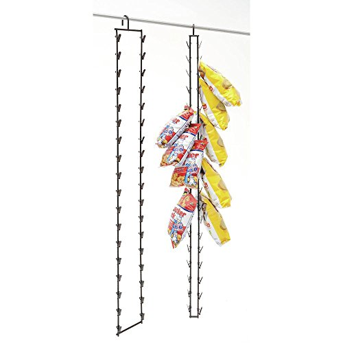 Hanging Potato Chip Rack, 36 Clips, Black Metal - 2 1/2 L x 5'' W x 49'' H by Hubert