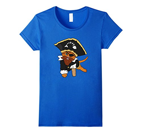 [Women's Funny Cat Pirate Costume Kitty Eye Patch Booty Rum T-Shirt XL Royal Blue] (Pirate Kitty Costume)