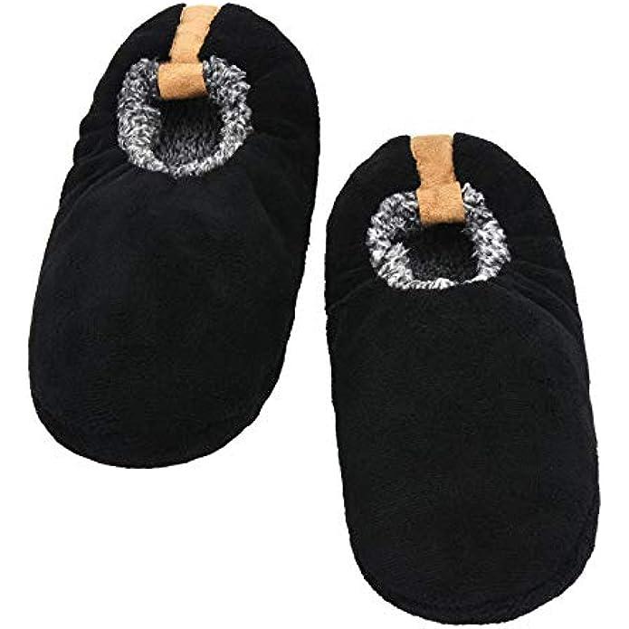 Panda Bros Mens Slipper Socks With Non Skid Bottoms, Warm Slipper Socks With Grippers For Men, Fuzzy House Slippers