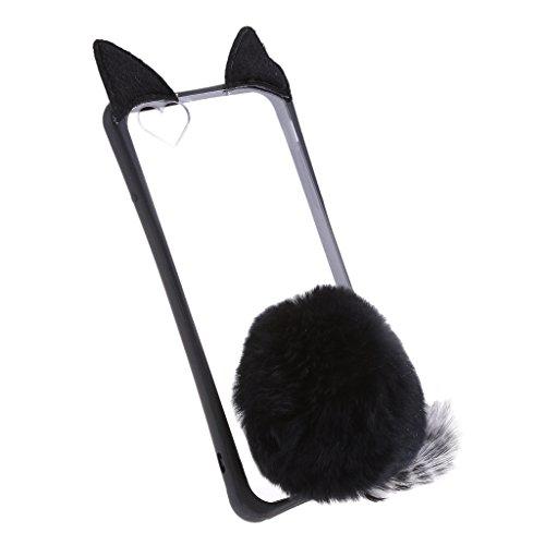 MagiDeal Cubierta Funda con Bola con Orejas de Gatos Bola Adornos para Iphone 6 Plus Móvil Inteligente - Negro Negro