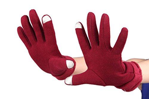 gants de l'écran tactile de la femme, gants textos pour iPhone, Android, gants à écran tactile chaudes, Cyclisme Course à pied randonnée Sports de plein air - Vin rouge