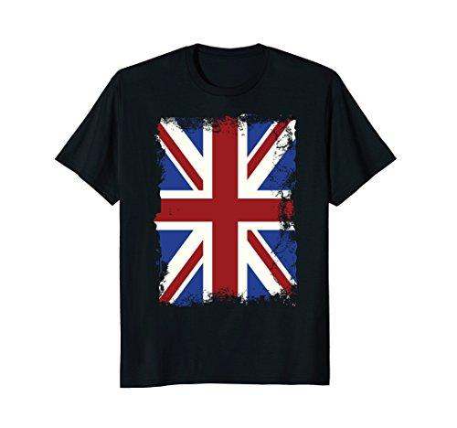 Union Jack T-shirt Vintage UK Flag Tee British Retro (Art Union Jack Flag T-shirt)