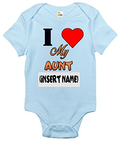 I Love My Aunt Custom Personalized Baby Bodysuit with the Aunt's Name of Choice (6-12 Months, Light Blue) ()