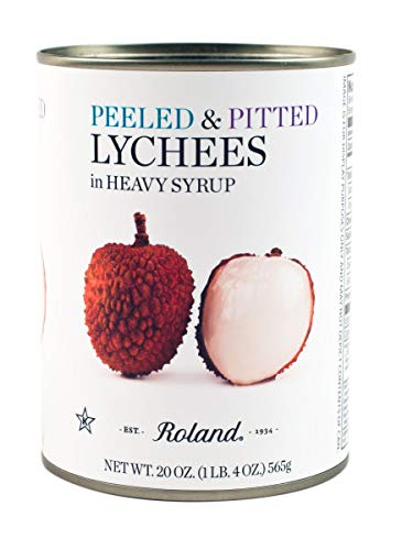Roland Whole Lychees in Heavy Syrup (20 oz Cans) 2 Pack (Lychee Syrup)