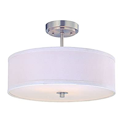 Modern Semi-Flush Ceiling Light with White Drum Shade - 16-Inches Wide
