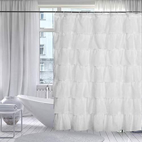 Gee Di Moda Gypsy Ruffled Shower Curtain, 100% Polyester Fabric Bathroom Drapes – Housewarming Gift - 70 Inch Wide by 72 Inch Long, - Ruffle Curtain Shower