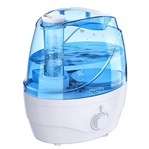 Homasy Cool Mist Humidifiers, 28dB Whisper-Quiet Humidifiers for Bedroom, Easy to Clean & Control Air Humidifier, Auto Shut-Off, 24H Work Time, Blue