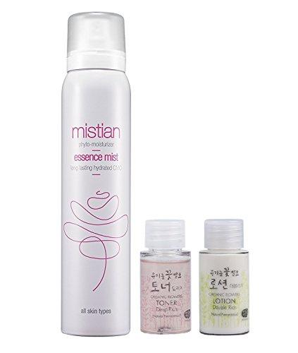 Mistian Deep Moisturizing Essence Mist Spray 100ml + Whamisa Organic Fermentation Deep Rich Essence Toner 20ml, Double Rich Lotion 20ml