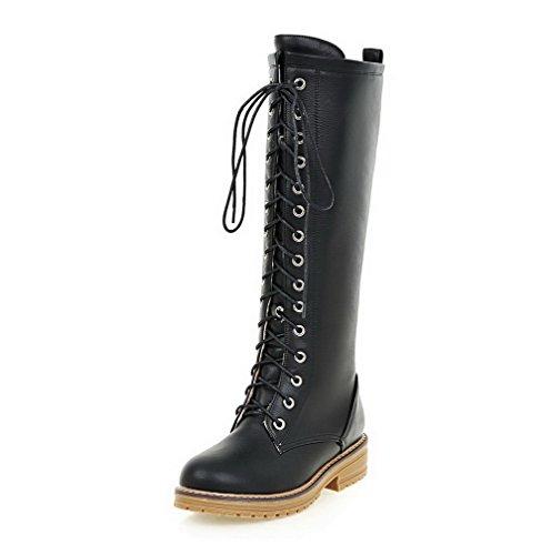 AllhqFashion Womens Solid PU Low-Heels Zipper Round Closed Toe Boots Black k4Q97s