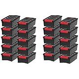 IRIS USA, Inc. TB-35 Stack & Pull Storage Box, 5 Quart, Black - 20 Pack