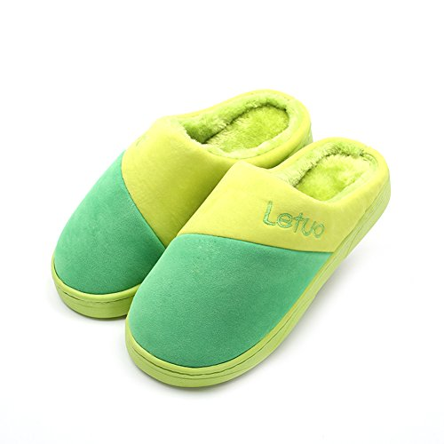 Kenabes Womens Comfort Cotton Washable House Slippers Green evVxNJB