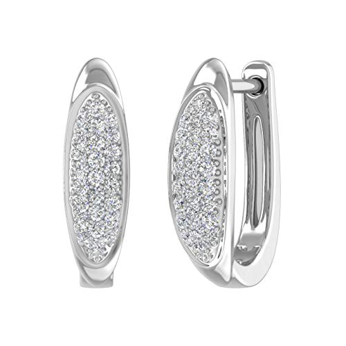 14K White Gold Round Diamond Ladies Huggies Hoop Earrings (1/5 Carat) - IGI Certified ()